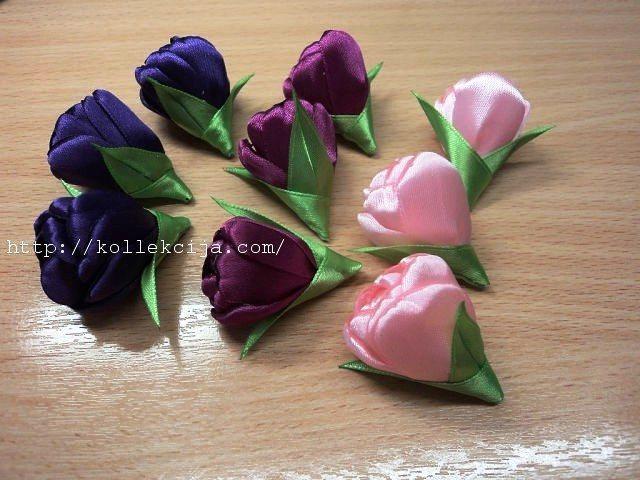 Тюльпаны из атласной ленты своими руками мастер класс 62
