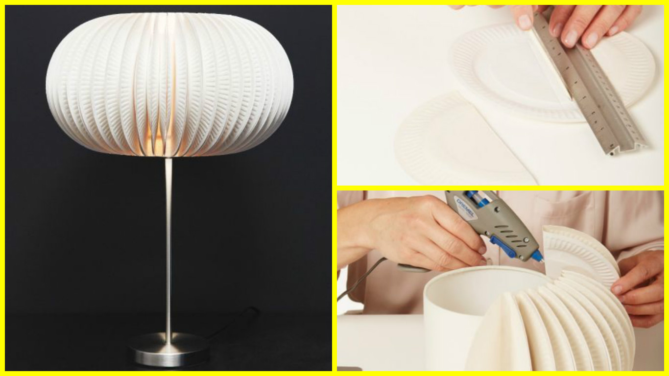 How to make beautiful lamp from paper plates tutorial for How to make paper lamp step by step