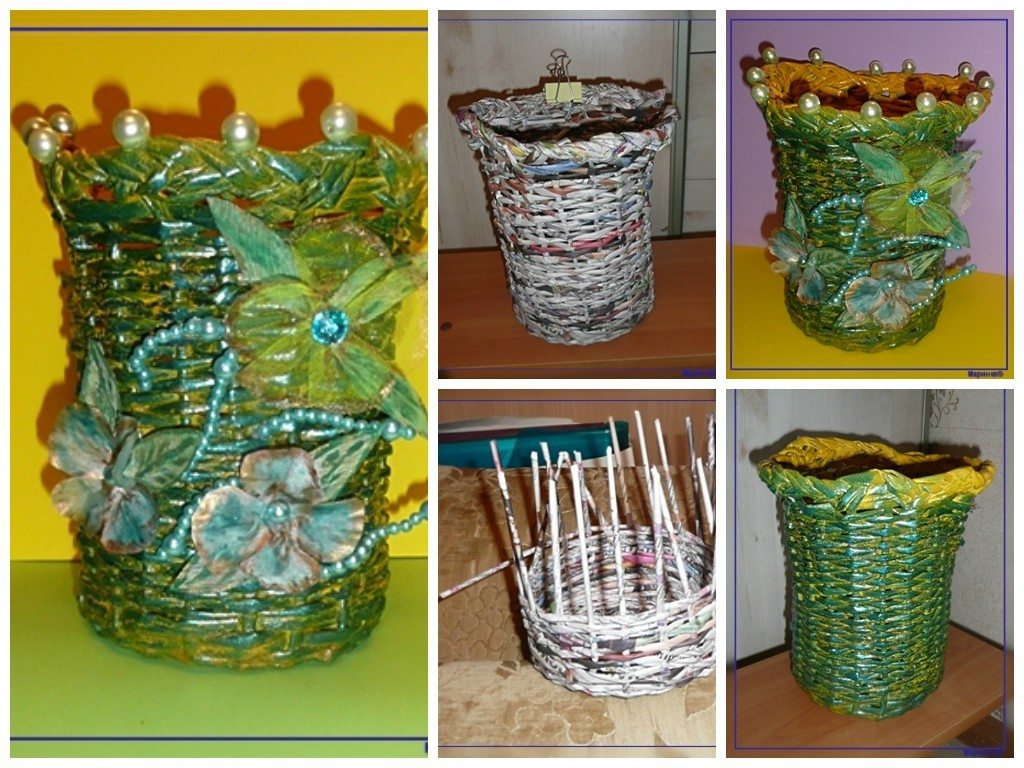 Diy Recycled Newspaper Basket With Flowers Art Craft Ideas