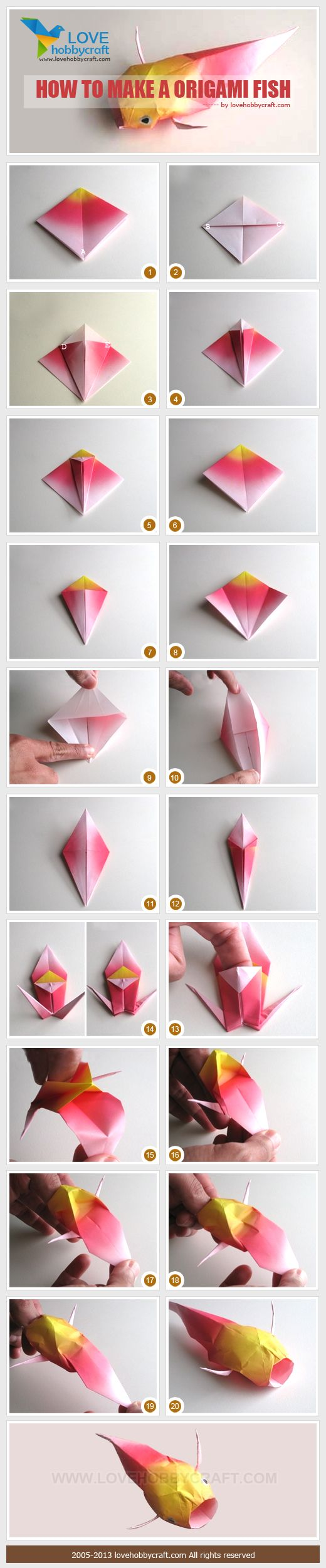 Diy origami fish art craft ideas for Origami koi fish easy