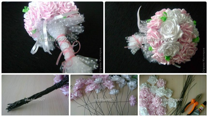 How to make beautiful wedding bouquet of ribbon flowers - Art ...