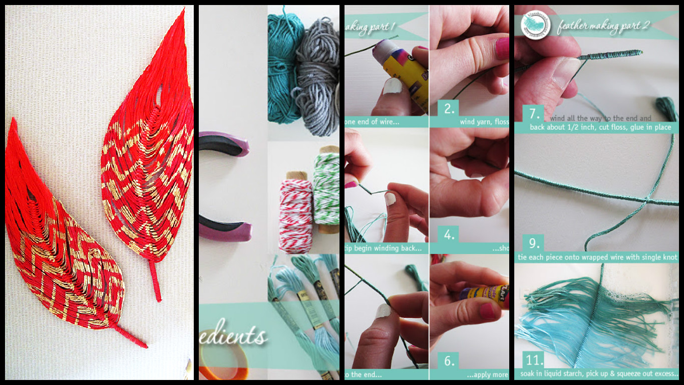 Diy Handmade Feathers With Thread Art Craft Ideas