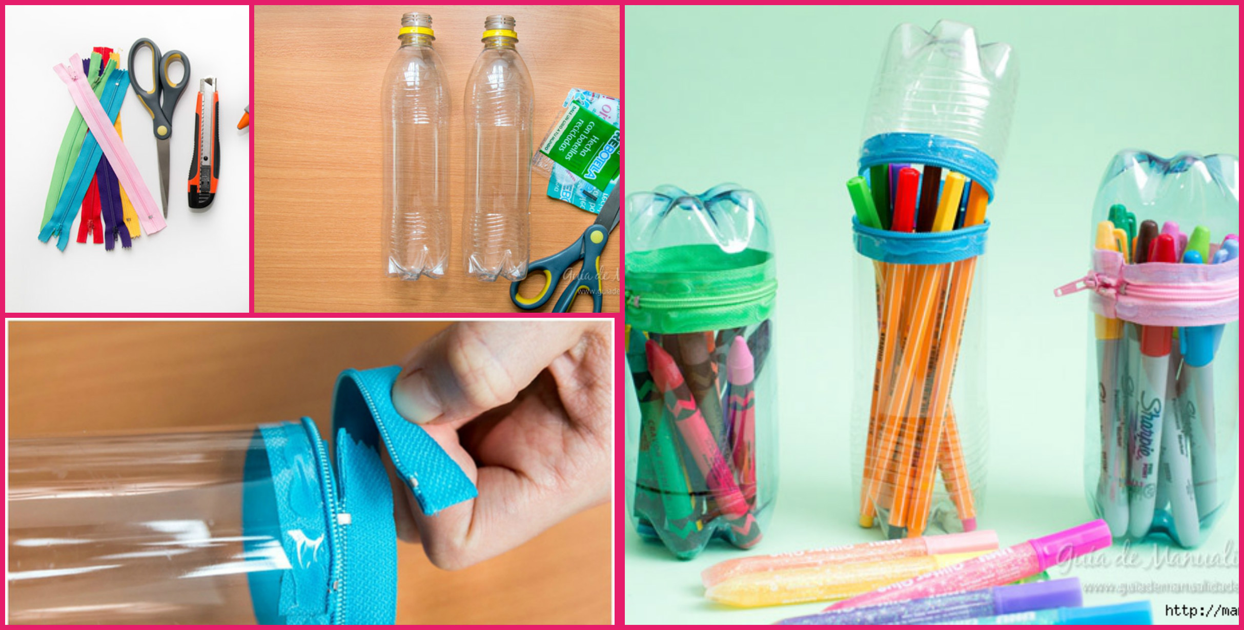 How to make pencil case from plastic bottle art craft for Craft items made from plastic bottles