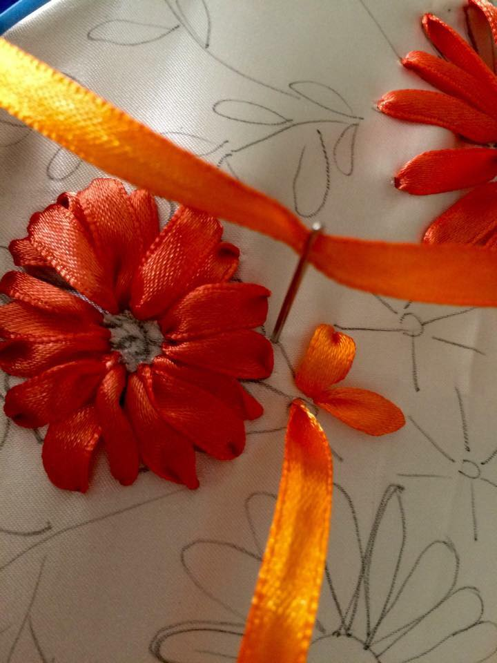 Ribbon embroidery step by art craft ideas