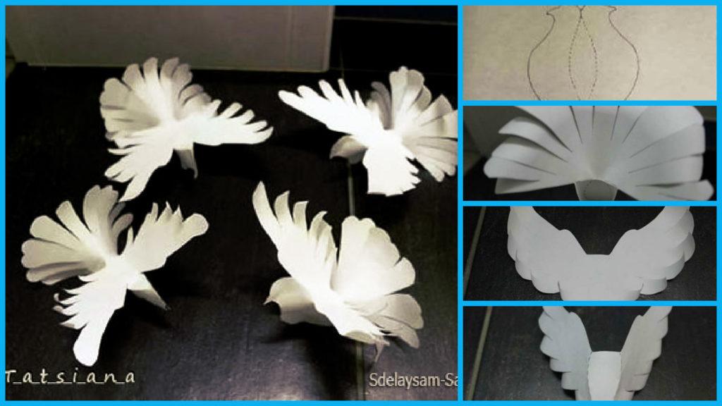 Шаблоны объемного голубя из бумаги своими руками 9