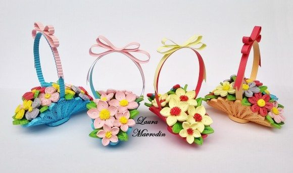 How To Make A Quilling Flower Basket : How to make quilling basket of flowers bouquets art