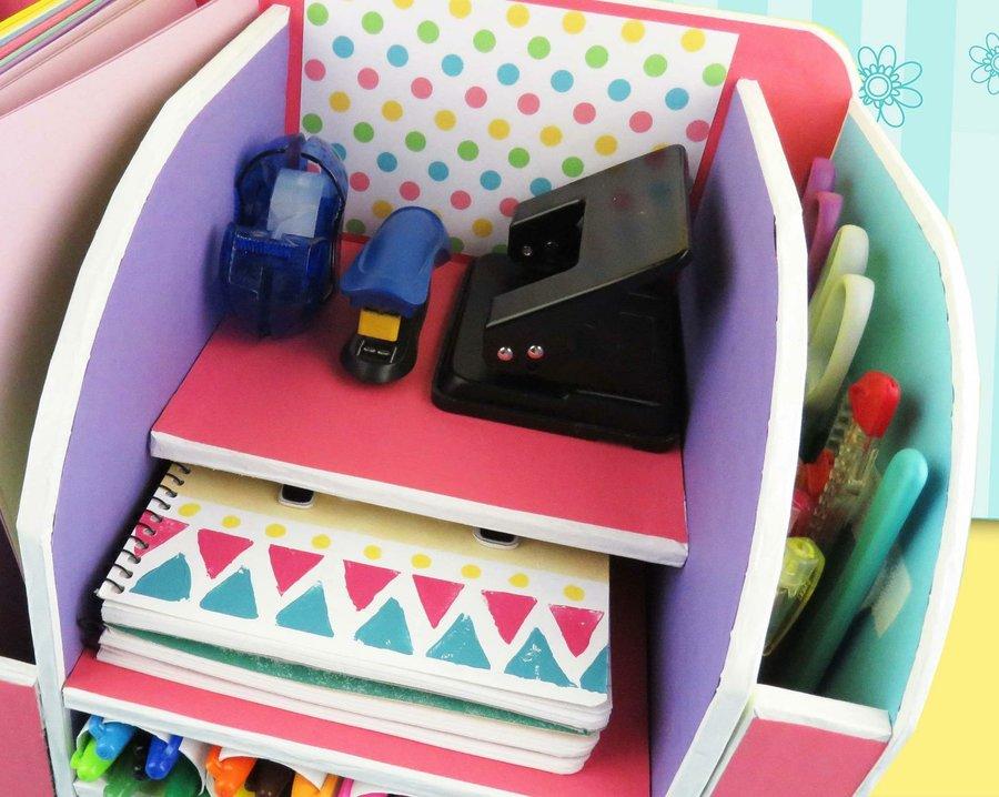 Diy Beautiful Desk Organizer From Cardboard Art Amp Craft