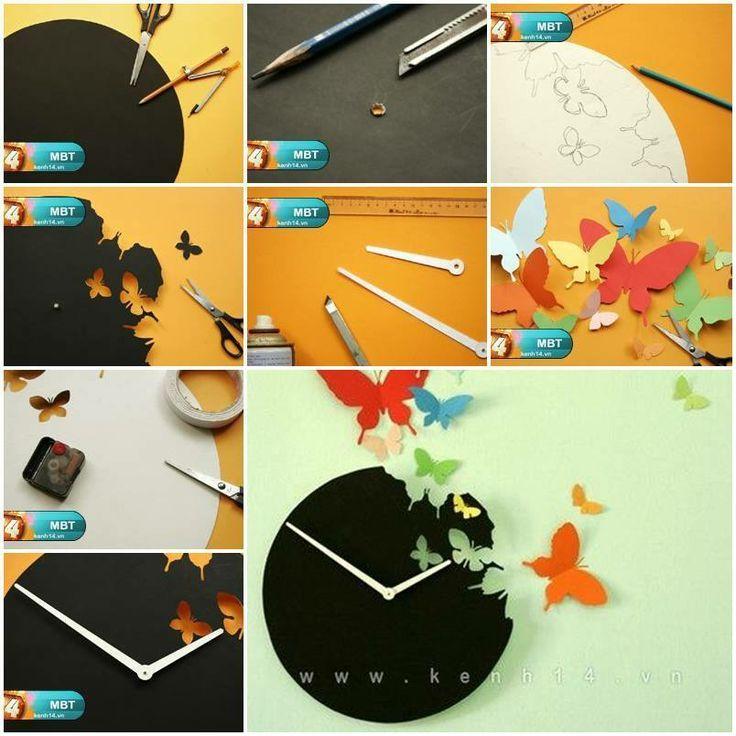 Diy butterfly clock wall art tutorial art craft ideas for Clock mechanisms for craft projects