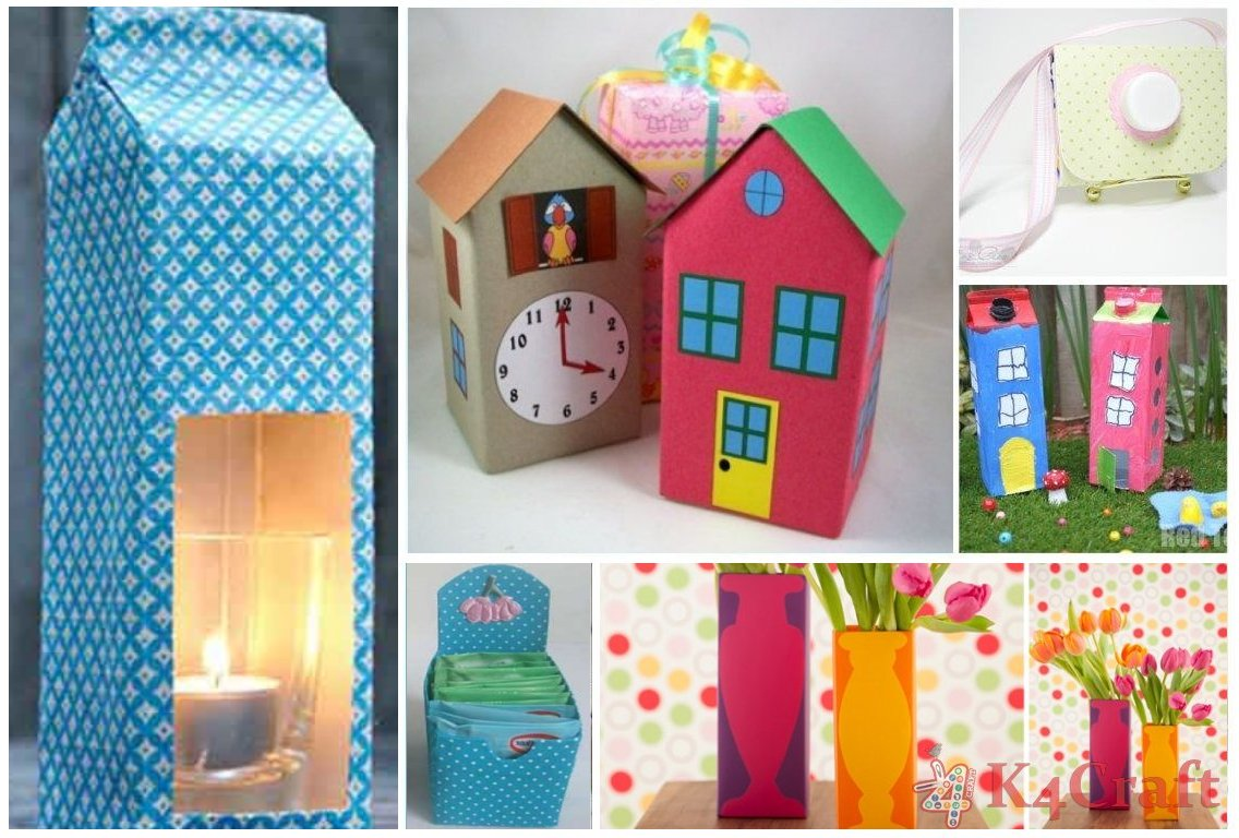 Diy kids crafts with recycled milk cartons art craft ideas for Art and craft for kids from waste material