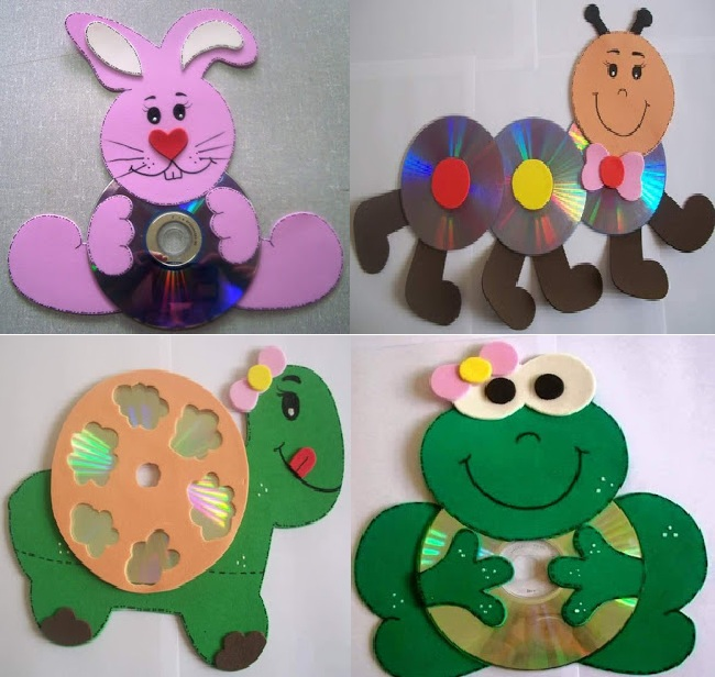Recycled cd crafts ideas for kids art craft ideas for Art and craft for kids from waste material