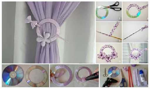 How to make curtains holder of old CD - Art & Craft Ideas