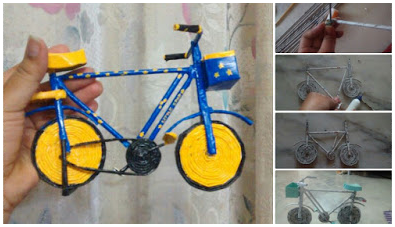 How to make bicycle from newspaper tube art craft ideas for Best out of waste from newspaper for kids