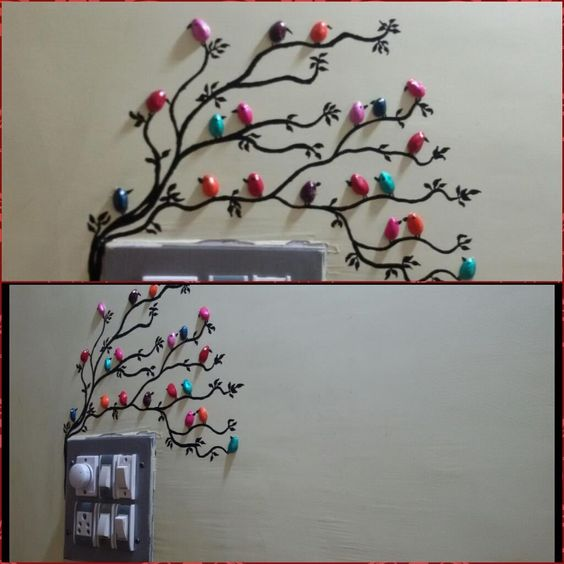 handmade pista shell bird for wall decoration art ForArt And Craft For Wall Decoration