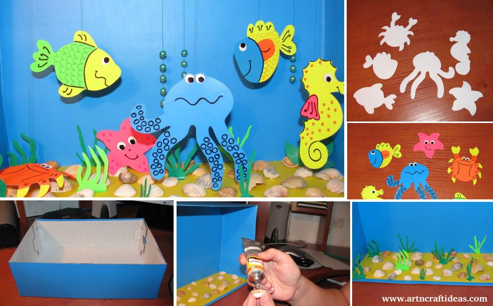 Aquarium Crafts For Children From The Box And Color Paper Art