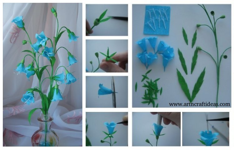 How to make paper flowers bells - Step by step - Art & Craft Ideas