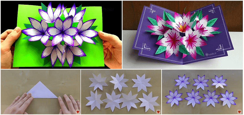 How to make 3d flower pop up card art craft ideas mightylinksfo