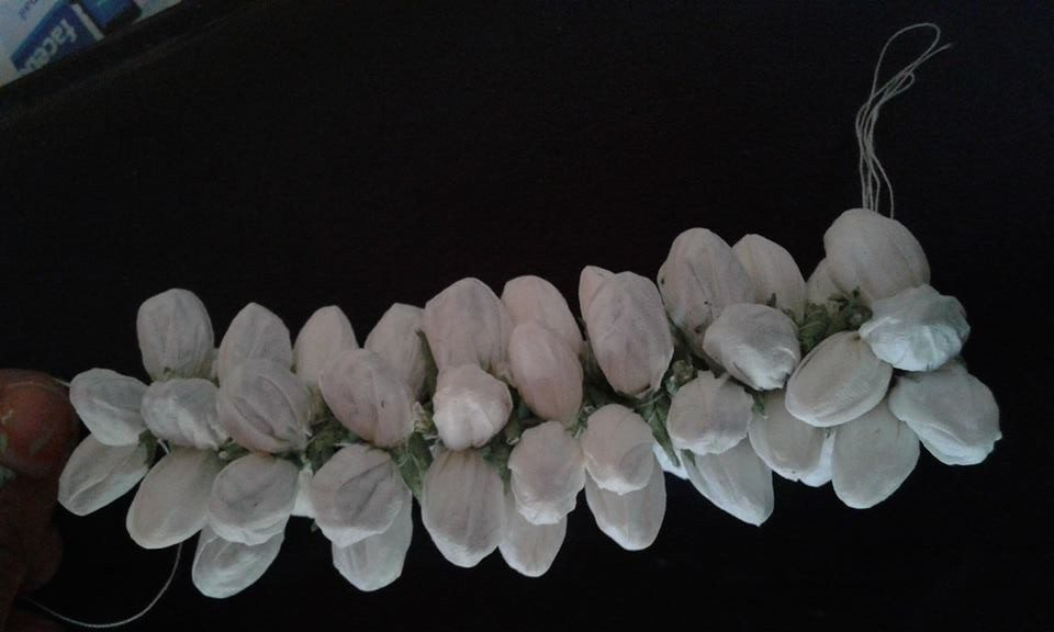 Tissue paper jasmine buds jewellery - Art & Craft Ideas