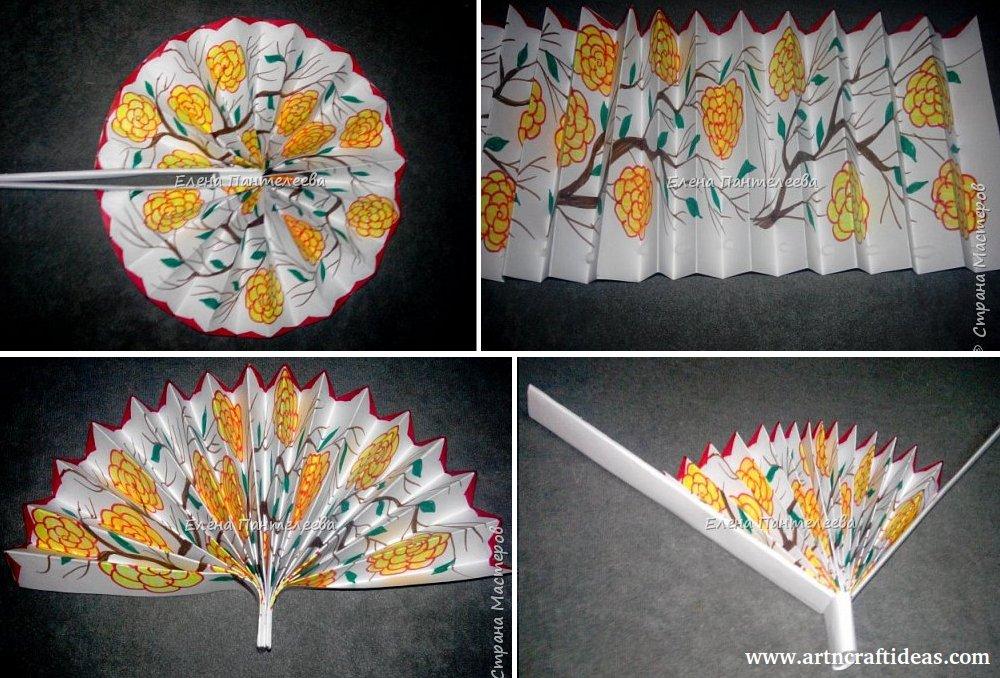 Diy Paper Hand Fan Making Easy Tutorial Art Craft Ideas