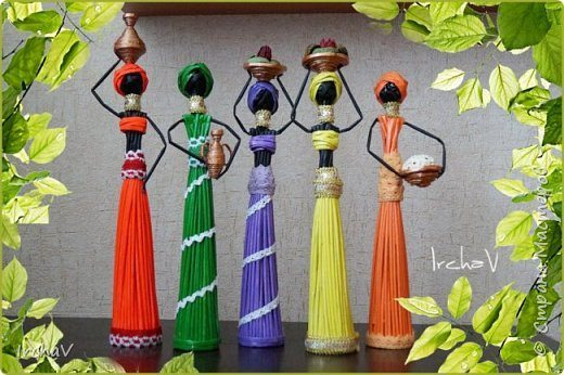 How To Make African Doll From Newspaper Tubes Art