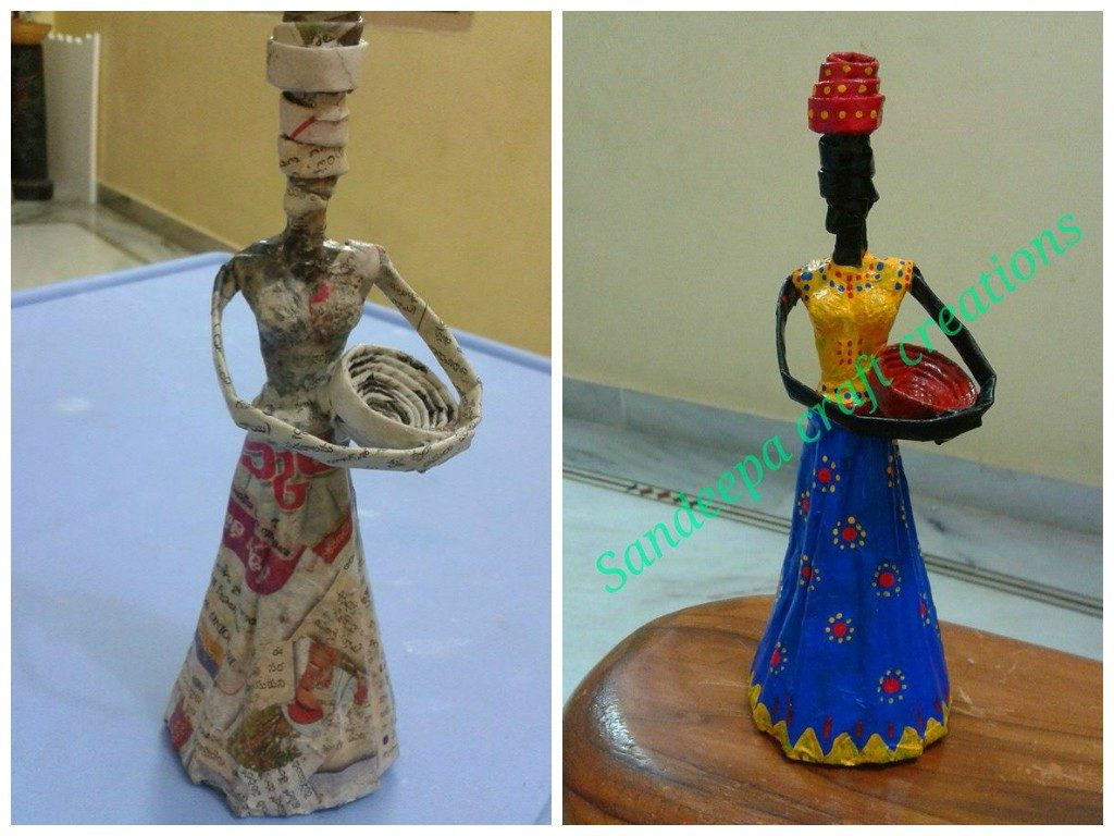 How To Make African Doll From Newspaper Tubes Art Amp Craft Ideas