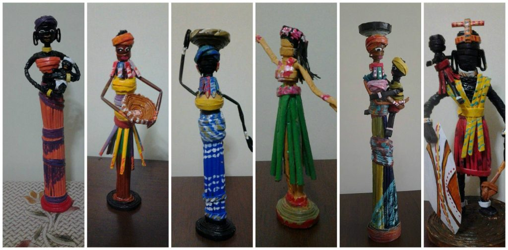 how to make african doll from newspaper tubes