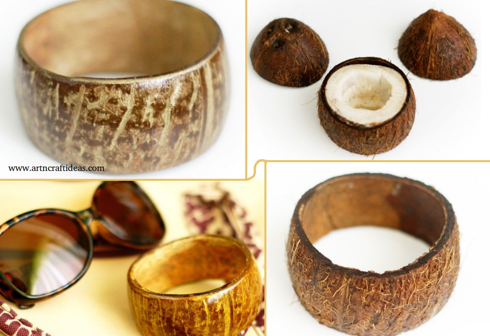 Diy bathroom wall decor - How To Make Coconut Shell Bracelet Step By Step Art Amp Craft Ideas