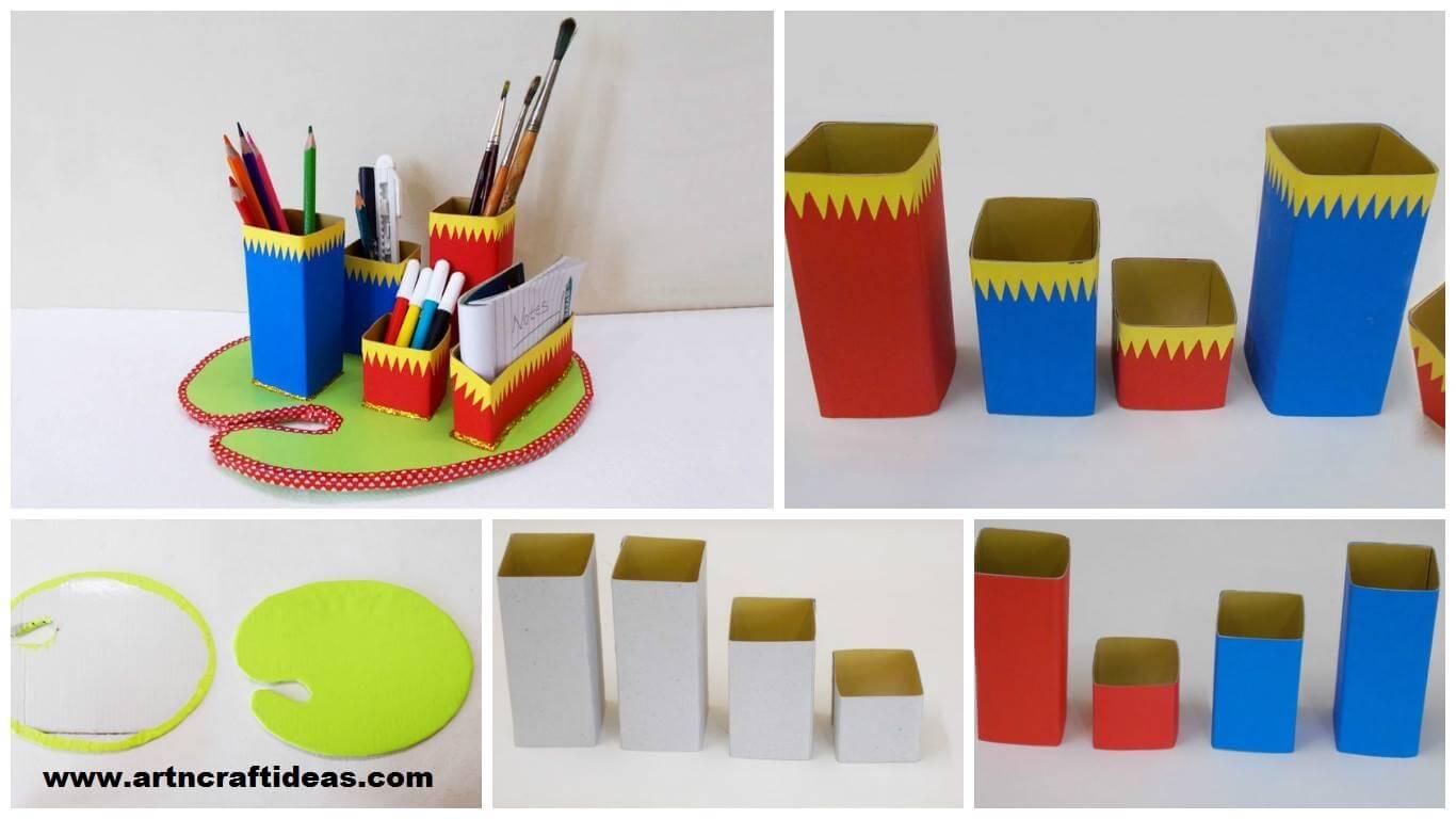 how to make diy desk organizer art craft ideas. Black Bedroom Furniture Sets. Home Design Ideas