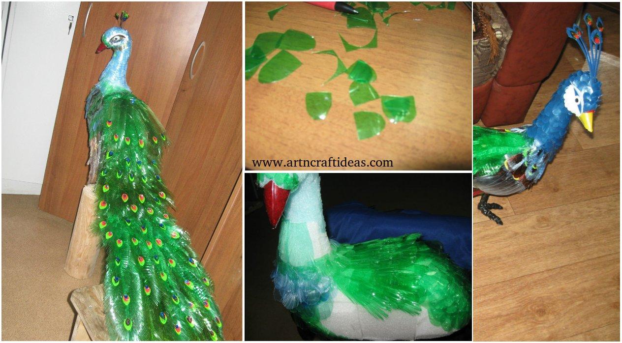 diy beautiful peacock design from plastic bottles art