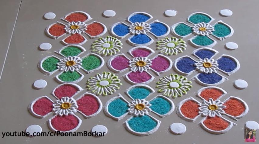 Simple easy and quick rangoli design art craft ideas for Home made rangoli designs