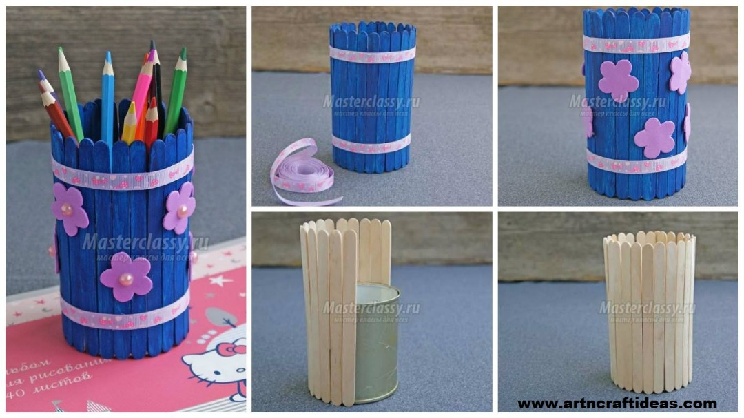 How To Make A Pencil Holder With Popsicle Sticks Art Craft Ideas