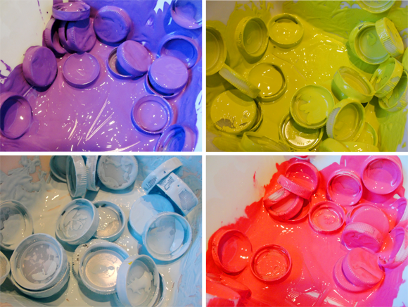 Painted plastic bottle caps craft tutorial for kids art for Painting craft projects