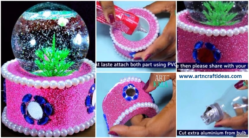 How to make snow globe from waste fuse bulb best out of for Art craft ideas best out of waste