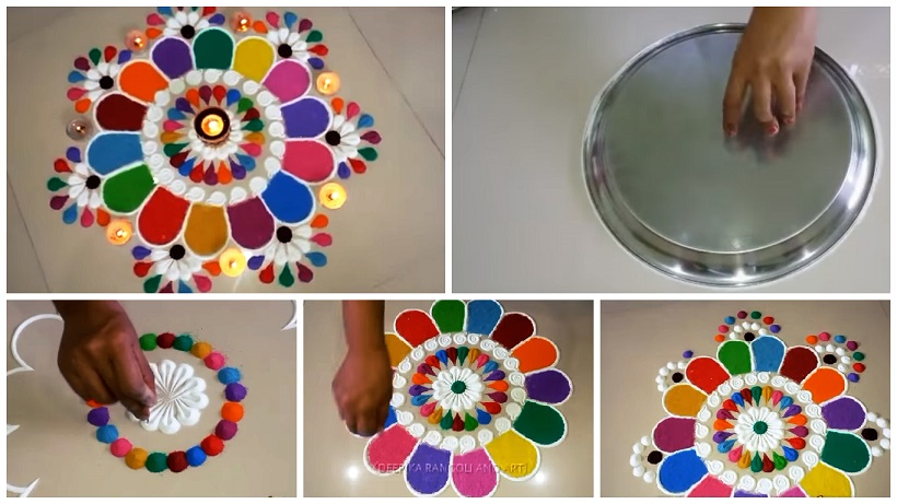 Colourful And Innovative Diwali Special Rangoli Design Step By