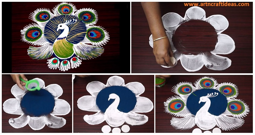 Latest And Simple Peacock Rangoli Designs Using Tools And Techniques