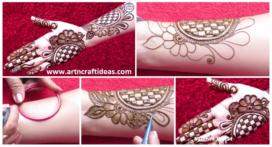 Beautiful 3D Arabic Henna Designs With The Help Of Bangle